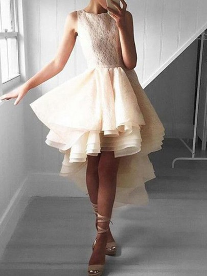 Beige Patchwork Lace High-low Sleeveless Cocktail Party TuTu Midi Dress