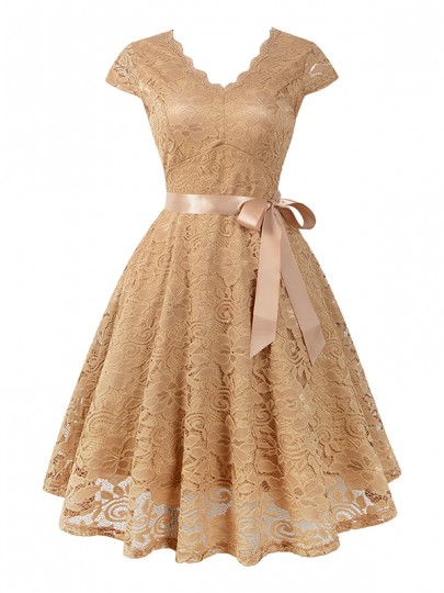 Apricot Lace Sashes Cocktail Party V-neck Elegant Midi Dress