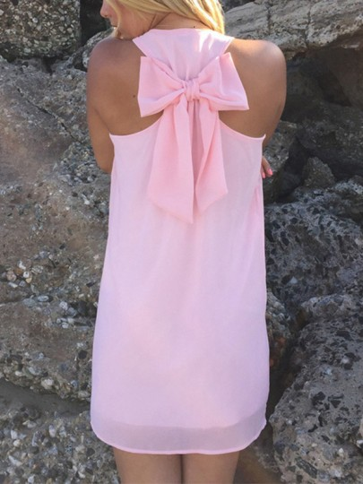 Pink Patchwork Bow U-neck Bohemian Mini Dress