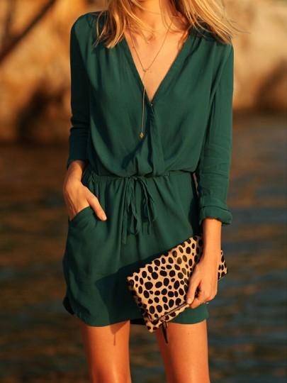 Green Sashes V-neck Long Sleeve Adjust Waist Homecoming Party Mini Dress