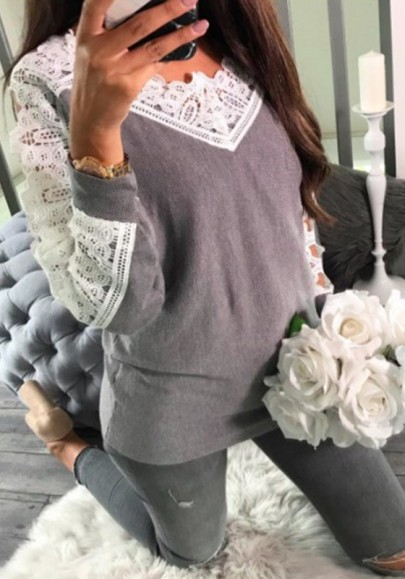Grey Patchwork Cut Out Lace Roung Neck Casual Pullover Sweater
