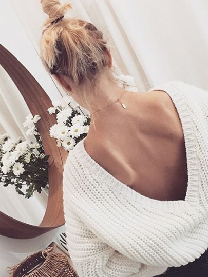 White Plain V-Back Neck Loose Fashion Pullover Sweater
