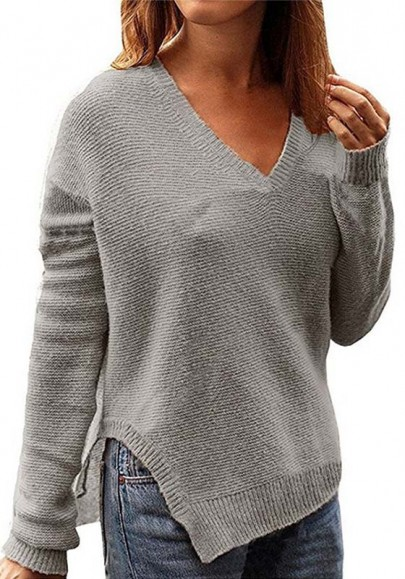 Grey Side Slit Oversize V-neck Casual Going out Pullover Sweater