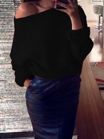 Black Asymmetric Shoulder Round Neck Long Sleeve Casual Sweater