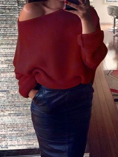 Wine Red Asymmetric Shoulder Round Neck Long Sleeve Casual Sweater