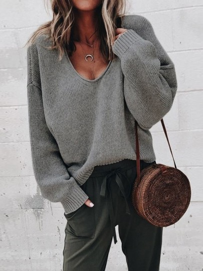 Dark Grey Cut Out V-neck Long Sleeve Casual Sweater