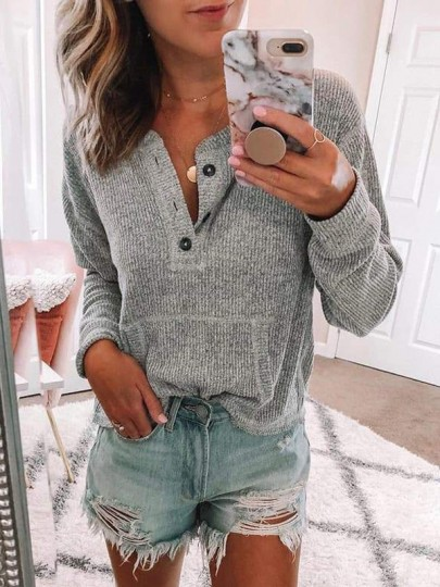 Grey Buttons Pockets Round Neck Long Sleeve Casual Pullover Sweater