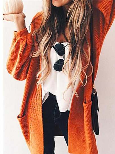 Orange Pockets Long Sleeve Casual Cardigan Sweater
