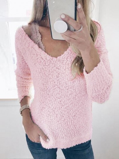 Pink Long Sleeve V-neck Casual Sweet Going out Pullover Sweater