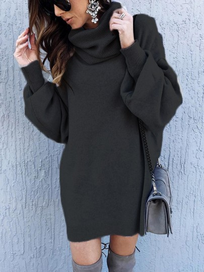 Black Grey Cut Out Draped High Neck Long Sleeve Casual Sweater