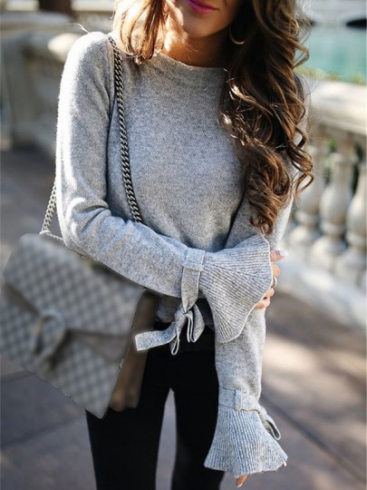 Grey Bow Round Neck Long Sleeve Casual Pullover Sweater