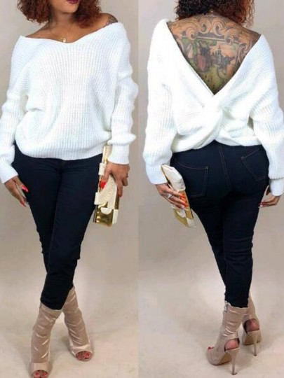White Pleated Irregular Deep V-neck Off Shoulder Backless Casual Pullover Sweater
