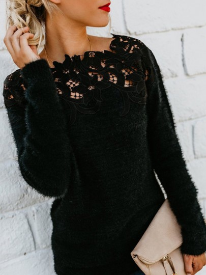 Black Patchwork Cut Out Lace Bodycon U-neck Elegant Pullover Sweater