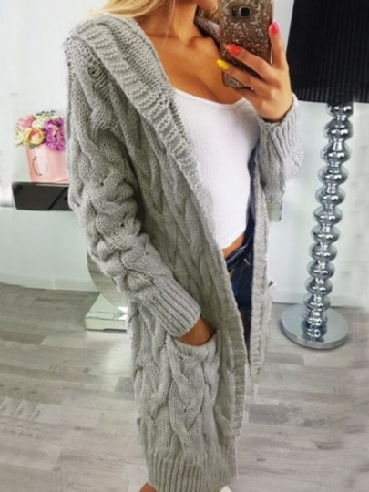 Grey Cable Knit Pockets Hooded Long Sleeve Oversize Cardigan Sweater