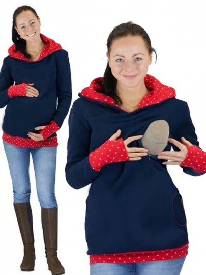 Red Blue Polka Dot Cut Out Pockets Zipper Hooded Casual Maternity Nursing Sweatshirt