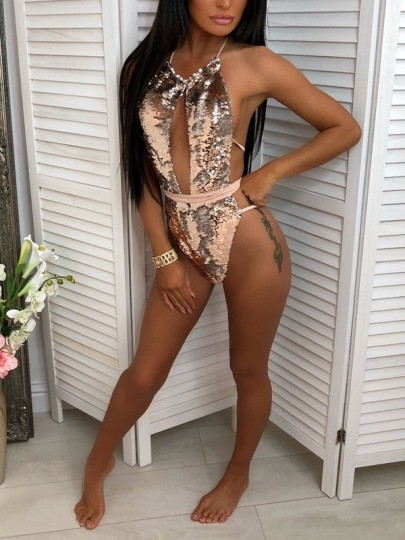 Apricot Patchwork Sequin Glitter Cut Out Halter Neck Backless One Piece Lingerie Party Bikini Swimwear