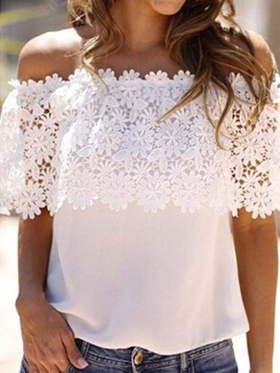 White Patchwork Lace Hollow Out ruffle Off Shoulder Chiffon Mexico Casual Cute Blouses T-Shirt