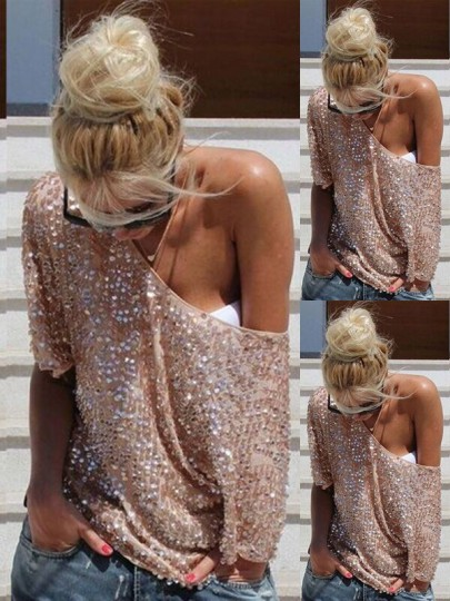 Silver Pink Sequin Elbow Sleeve Round Neck Sparkly Clubwear NYE Party Top T-Shirt