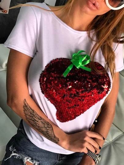 White Patchwork Strawberry Sequin Pattern Round Neck Casual Cute T-Shirt