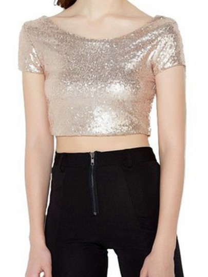 Golden Patchwork Sequin Crop Christmas Backless Short Sleeve T-Shirt