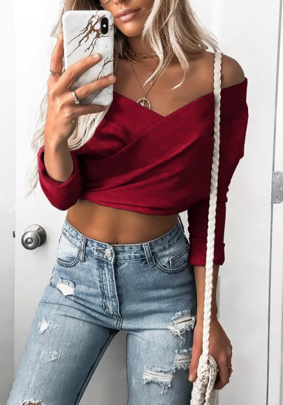 Red Crop Cut Out Boat Neck Long Sleeve Fashion T-Shirt