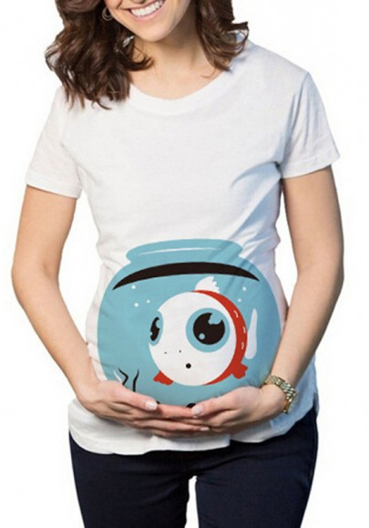 White Print Round Neck Short Sleeve Casual Cute Maternity T-Shirt