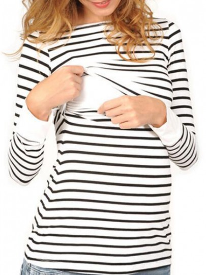 White Striped Print Round Neck Long Sleeve Fashion Maternity Nursing T-Shirt