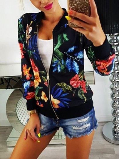 Black Floral Print Zipper Round Neck Long Sleeve Casual Coat