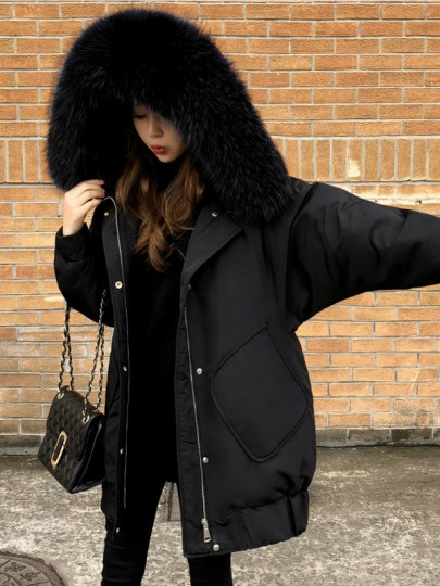 Black Patchwork Fur Pockets Single Breasted Zipper Hooded Long Sleeve Casual Coat