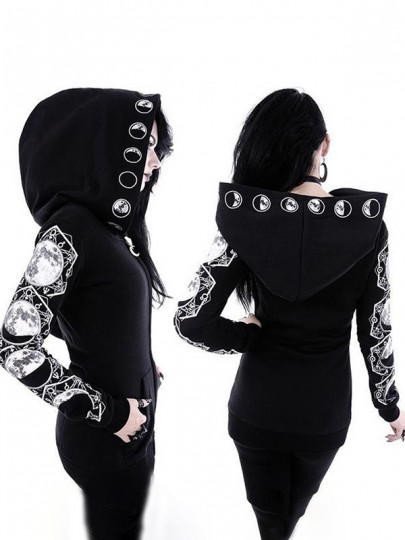Black Sun Moon Print Restyle Witchcraft Oversized Hood Gothic Alternative Goth Fashion Coat