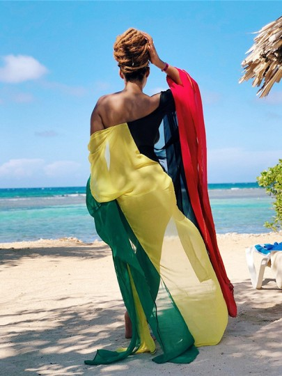 Yellow Reggae Rasta Color Jamaica Color Block Beachwear Cover-Up Fashion Bikini Smock