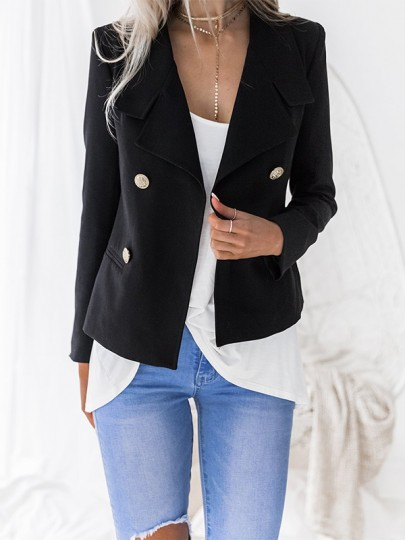 Black Buttons Pockets Double Breasted V-neck Fashion Suit