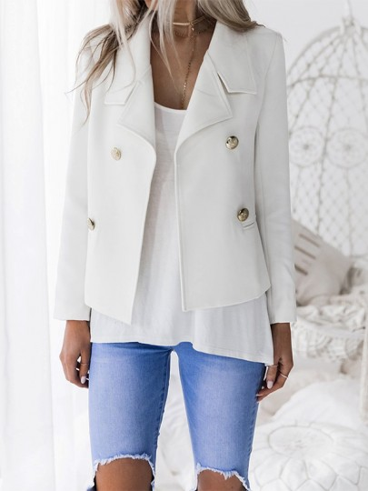 White Buttons Pockets Double Breasted V-neck Fashion Suit