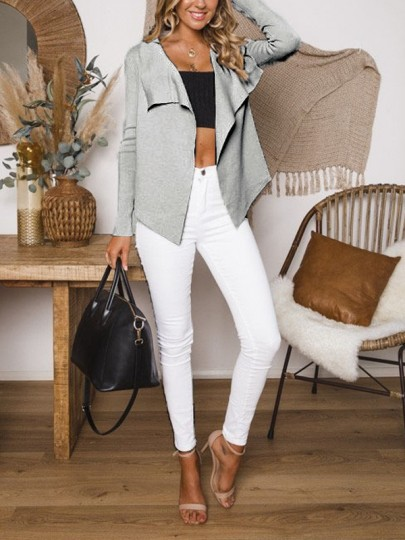 Grey Print Long Sleeve Fashion Pullover Sweater