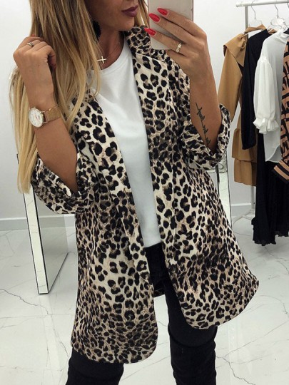 Beige Leopard Print Tailored Collar New Fashion Latest Women Fashion Suit Outwear