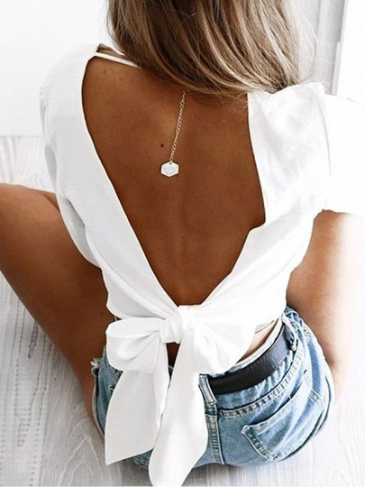 White Midriff Cut Out Bow Backless V-neck Casual Blouse