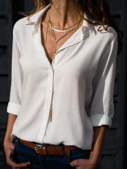 White Single Breasted V-neck Ladies Long Sleeve Casual Blouse