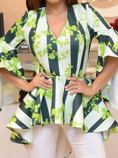 Green Clover Striped V-neck Pleated High-Low Peplum Bell Sleeve Elegant St.Patrick's Day Blouse