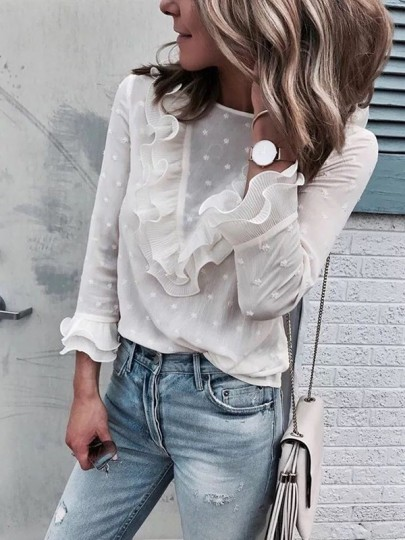 White Patchwork Ruffle Round Neck Long Sleeve Casual Blouse