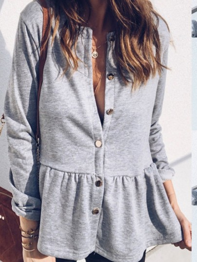 Grey Single Breasted Pleated Peplum Long Sleeve Round Neck Casual Blouse