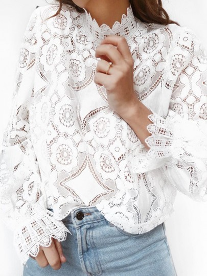 White Patchwork Geometric Floral Lace Cut Out Band Collar Long Sleeve Elegant Blouse