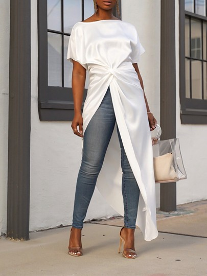 White Off Shoulder Pleated High-Low Swallowtail Turndown Collar Long Sleeve Party Blouse