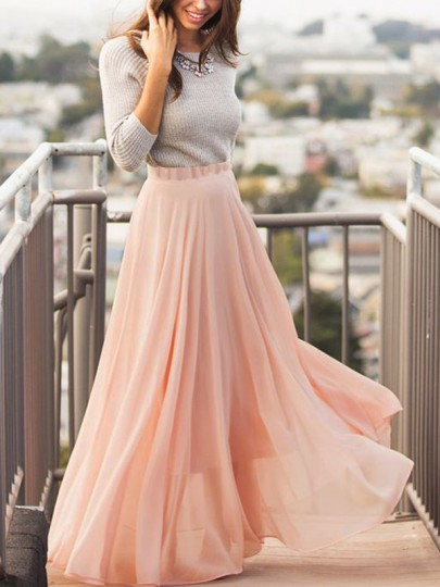Nude Pink Grenadine Pleated High Waisted Fluffy Puffy Tulle Bohemian Flowy Maxi Skirt