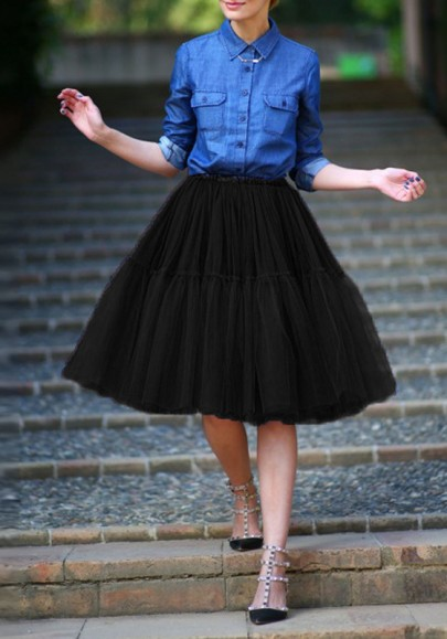Black Grenadine High Waisted Layers Of Sweet Puffy Tulle Tutu Homecoming Party Midi Skirt