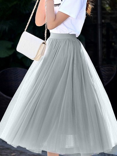 Grey Grenadine Pleated High Waisted Sweet Over the knee Going out Tutu Skirt