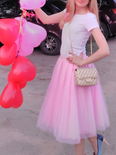 Pink Grenadine Pleated High Waisted Plus Size Fluffy Puffy Tulle Tutu Homecoming Party Skirt