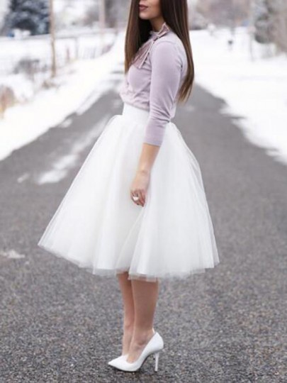 White Pleated High Waisted Cute Beach Wedding Prom Homecoming Party Puffy Tulle Tutu Skirt