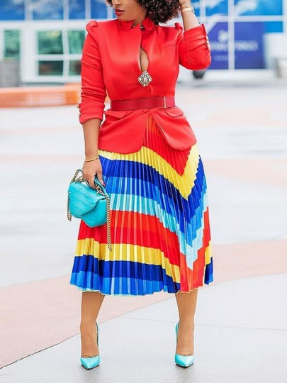 Red Colorful Pleated High Waisted Homecoming Party Skirt