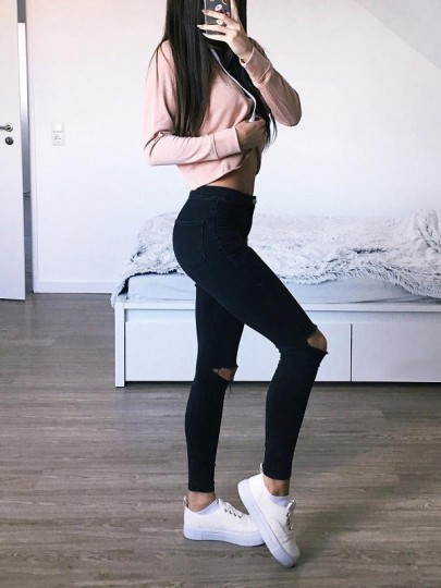 Black Zipper Pockets Ripped Destroyed High Waisted Skinny Pencil Long Jeans