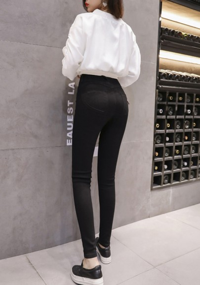 Black Buttons Pockets Skinny High Waisted Casual Boyfriend Long Jeans